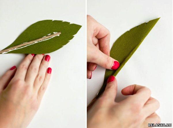 Как сделать листики из гофрированной бумаги 886