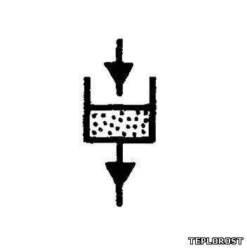 Фильтр песочный гидростатический.  Условное графическое обозначение на чертежах, планах и схемах.